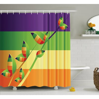 Modern Various Fractal Floral Leaves and Branch Vibrant Stripes Fantasy Art Shower Curtain Set Size: 84 H x 69 W