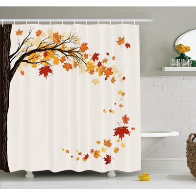 Fall Leaf Group Motion in Mother Earth Transition from Summer to Winter Decor Shower Curtain Set Size: 84 H x 69 W