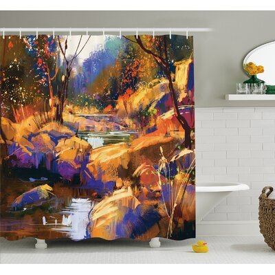 Dreamy Environment with Water in Bedrocks Artful Spring Scene Shower Curtain Set Size: 70 H x 69 W