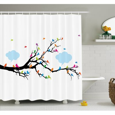 Winged Birds Sitting and Tweeting on Leafless Winter Tree with Fluffy Clouds Shower Curtain Set Size: 75 H x 69 W
