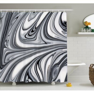 Mix of Hallucinatory Surreal Liquid Marble Figures Graphic Image Shower Curtain Set Size: 84 H x 69 W