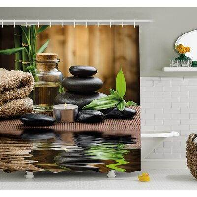 Spa Asian Zen Massage Stone Triplets with Herbal Oil and Scent Candles Shower Curtain Set Size: 70 H x 69 W