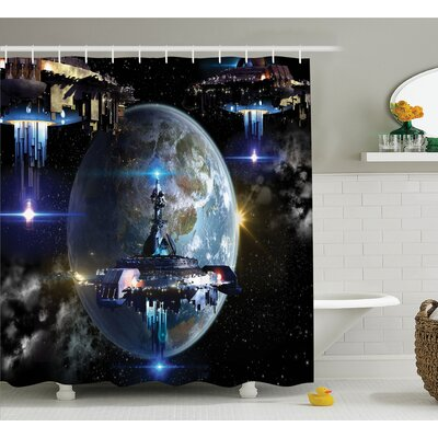 War Alien Ship Fleet Close to Earth Invasion of World Outer Space Galaxy Artwork Shower Curtain Set Size: 70 H x 69 W