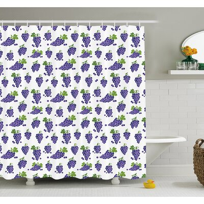 Grapes Cute Fruit Icons Patterned Juicy Yummy Cottage Sweet Design Shower Curtain Set Size: 70 H x 69 W