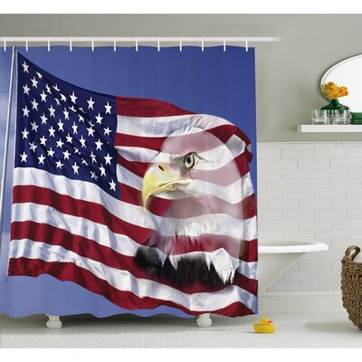 American Flag Bless America in the Wind with Eagle Icon Double Exposure Citizen Image Shower Curtain Set Size: 84
