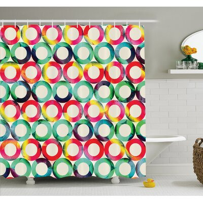 Geometric Circle Vibrant Style Circular Forms Retro Spots Artsy Fashion Hipster Design Shower Curtain Set Size: 70 H x 69 W