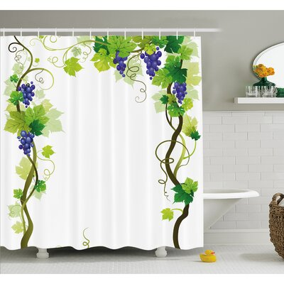 Grapes Vineyard with Swirled Leaf Fresh Fruit Garden Harvest Season Wine Growth  Shower Curtain Set Size: 70 H x 69 W