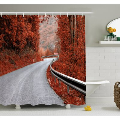Fall Dreamy Asphalt Road with Mid Fall Colors Nobody Surreal Highway Travel Photo Shower Curtain Set Size: 70 H x 69 W