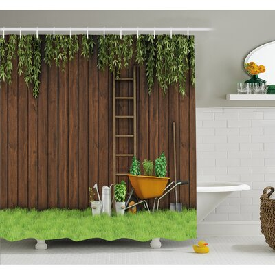 Farm House Gardening Material Tools on the Backyard with Shovel and Bucket Print Shower Curtain Set Size: 70 H x 69 W