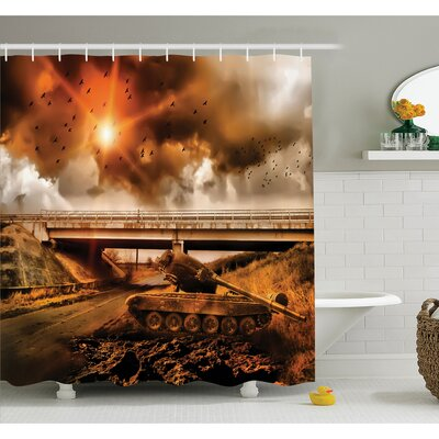 War Gloomy Sky with Dark Cloud and Bird over Warfare with Armored Tank in Road Shower Curtain Set Size: 70 H x 69 W