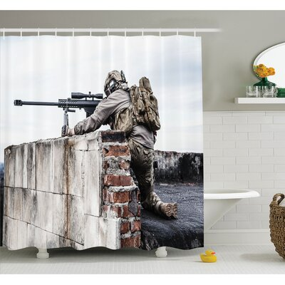 War Army Sniper Warrior Targeting on Roof during the Operation Commando Task Theme Shower Curtain Set Size: 70 H x 69 W