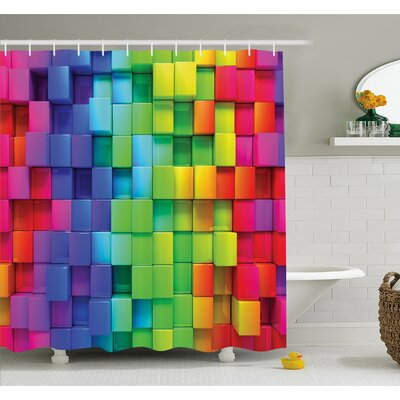 Rainbow Color Contour Display Futuristic Block Brick-Like Geometric Artisan Shower Curtain Set Size: 70 H x 69 W