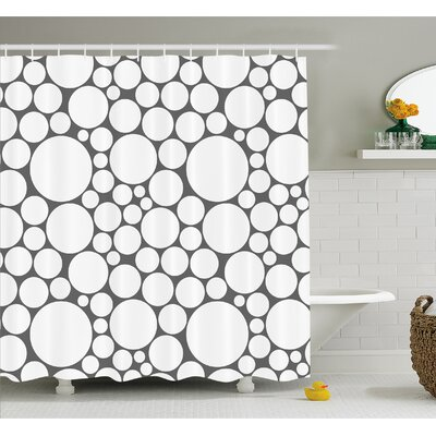 Geometric Circle Retro Pattern with Large Small Round Dots Abstract Art Print Image Shower Curtain Set Size: 75 H x 69 W