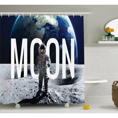 Outer Space Moon Invasion of the Miniature Astronaut Stands on Surface World Image Shower Curtain Set Size: 84 H x 69 W