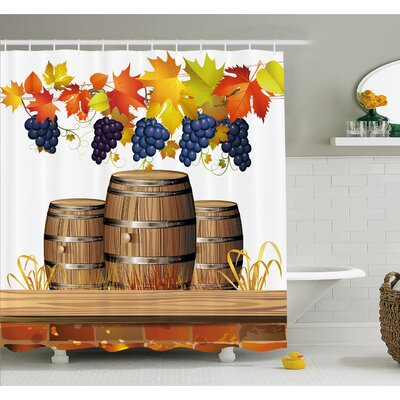 Grapes Wood Wine Barrels with Faded Autumn Leaves Fall Sunlight Design Shower Curtain Set Size: 70 H x 69 W