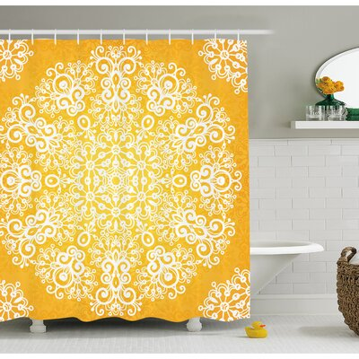 Snowflake Like Floral Artsy Pattern Design with Indian Inspired Artwork Shower Curtain Set Size: 70 H x 69 W