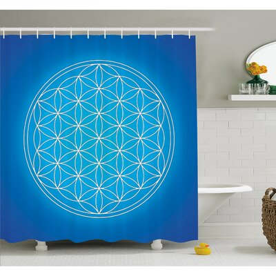 Flower of Life Grid Pattern Consisting of Types Overlapping Circles Theme Shower Curtain Set Size: 75 H x 69 W