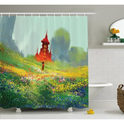Fantasy Art House Floral Field Meadow to Old Castle before the Scary Mountain Shower Curtain Set Size: 75 H x 69 W