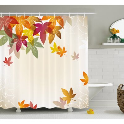 Fall Silhouettes of Maple Tree Leaves in Pastel Classical Shady Nature Graphic Image Shower Curtain Set Size: 70 H x 69 W