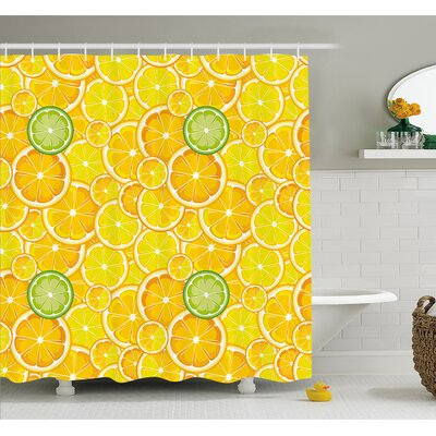 Lemon Orange Lime Citrus Round Cut Circles Big and Small Pattern Shower Curtain Set Size: 75 H x 69 W