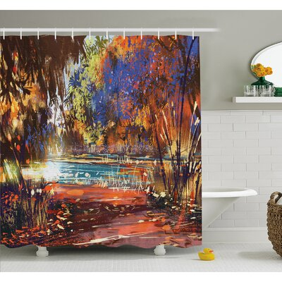 Refreshing Nature Painting at Serene Pond Illusionary Perspective Swamp Shower Curtain Set Size: 75 H x 69 W