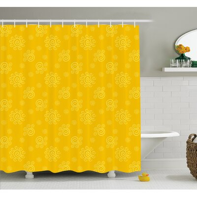 Sun Solar Hand Drawn Style Pattern with Little Spiral Spots Like Hot Summer Sun Shower Curtain Set Size: 75 H x 69 W