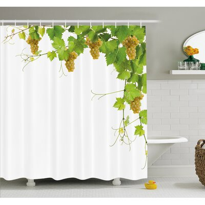 Grapes Collage of Vine Leaves on Bunch Farming Natural Rural Food Berry Image Shower Curtain Set Size: 84 H x 69 W