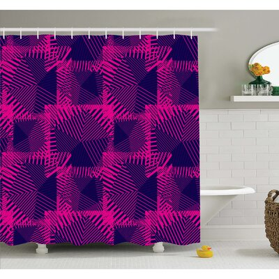 Zip Style Mix Pattern with Dark Color Effect Diagonal Linked Lines Shower Curtain Set Size: 75 H x 69 W