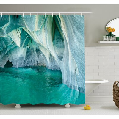 Marble Caves at European Mediterranean Lake Geologic Eroded Art Photo Shower Curtain Set Size: 70 H x 69 W