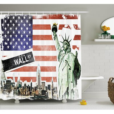 American Flag NYC Collage with Famous Monuments Wall Street and Manhattan Urban Display Shower Curtain Set Size: 70