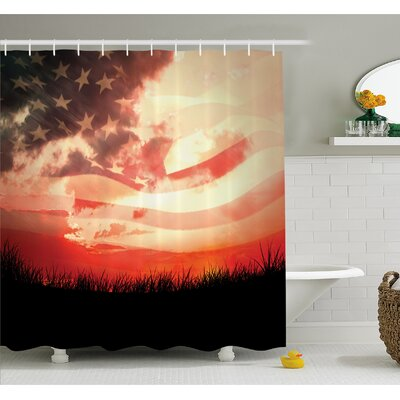 Horizon on Grass Park Field Identity Sunset Ethnic Decor Shower Curtain Set Size: 70