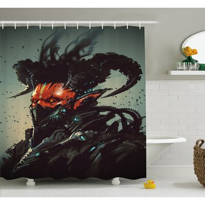 Unusual Robotic Demon Character Futuristic Computer Generated Cyber Shower Curtain Set Size: 84 H x 69 W