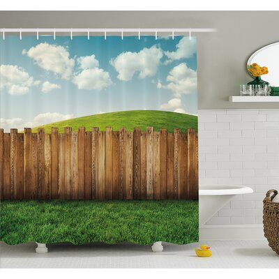 Farm House Wooden Garden Fence on Grassland Pastoral Environment with Cloudy Sky Shower Curtain Set Size: 75