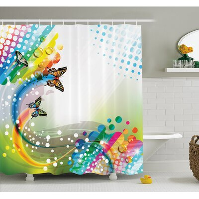 Flying Butterflies with Color Comet Bubbles Creative Fantasy Design Shower Curtain Set Size: 70 H x 69 W