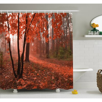 Fall Misty Forest with Leaves from Deciduous Trees Warm to Cold Featured Image Shower Curtain Set Size: 84 H x 69 W