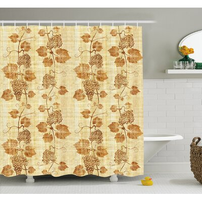 Grapes Cuisine Figure on Ancient Egyptian Papyrus Parchment Aged Crumpled Artwork Shower Curtain Set Size: 75 H x 69 W