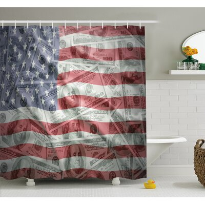 Dollar on Flag Money Currency Exchange Value Global Finance Idol Shower Curtain Set Size: 70 H x 69 W