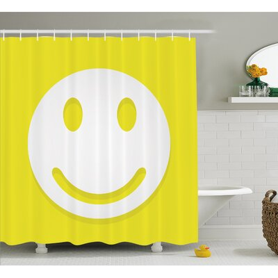 Rise and Shine Positive Optimistic Classic Big Smiley Happy Face Artwork Shower Curtain Set Size: 84 H x 69 W