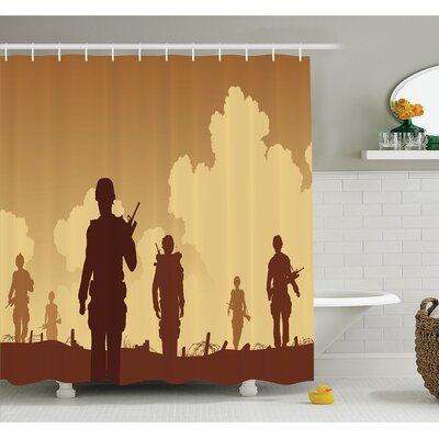 War Soldier Shadows with Military Costumes and Weapons Walking on Patrol Print Shower Curtain Set Size: 70 H x 69 W