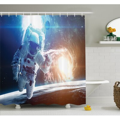 Outer Space Spaceman in Galaxy in front of Nebula Gas Cloud Interstellar Art Print Shower Curtain Set Size: 84 H x 69 W