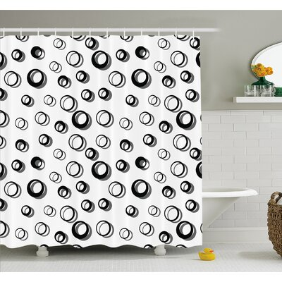 Geometric Circle Abstract Various Round Pattern Reflections Decorations Minimalist Shower Curtain Set Size: 75 H x 69 W