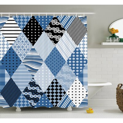 Farm House Geometric Diamond Shaped Lines with Various Nostalgic Fashioned Old Pattern Shower Curtain Set Size: 75 H x 69 W