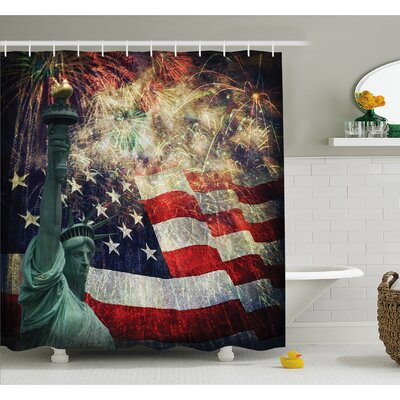 Composite Photo of States Idols with Fireworks on Background 4th of July Shower Curtain Set Size: 70