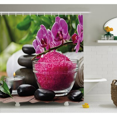 Spa Zen Stone Triplets with Asian type Orchids and Fuchsia Salt Shower Curtain Set Size: 70 H x 69 W