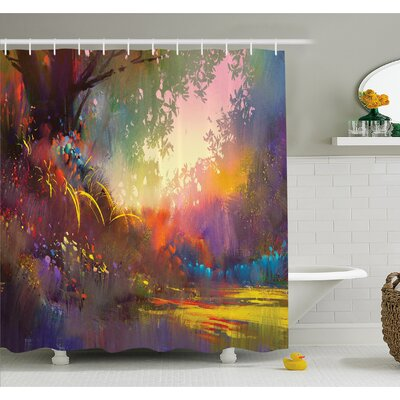 Magical Lake with Brush Effects Surreal Nature Elf Tranquil Art Print Shower Curtain Set Size: 70 H x 69 W