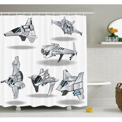 War Futuristic Spaceships Rocket Discovery of Stars Planets Cosmonaut Theme Image Shower Curtain Set Size: 75 H x 69 W