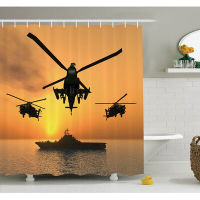 War Battle Helicopter over the Ocean Sea and Aircraft Carrier on Combat Art Photo Shower Curtain Set Size: 84 H x 69 W