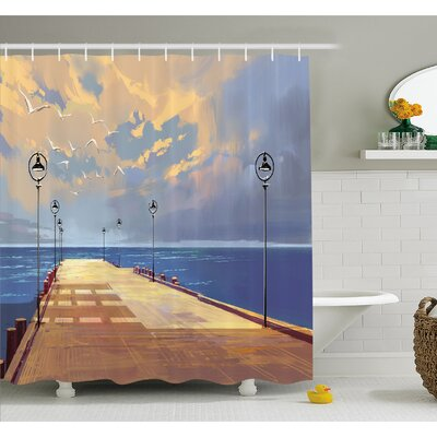 Wooden Bridge Pier to the Sea Harbor Bay Coast Cloudy Day with Gull Shower Curtain Set Size: 70 H x 69 W