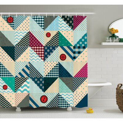 Farm House Chevron Patchwork with Vintage Stylized Line and Retro Button Forms Kitsch Artsy Shower Curtain Set Size: 70 H x 69 W