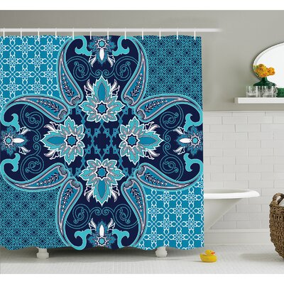 Floral Paisley Design Bohemian Style Vintage Flower Petal Pattern Shower Curtain Set Size: 70 H x 69 W